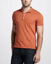 7 For All Mankind Burnout Slub Polo, Fox