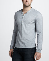 7 For All Mankind Burnout Slub Henley Tee, Cloud
