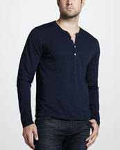 7 For All Mankind Burnout Slub Henley Tee, Cloud Blue