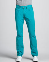 7 For All Mankind The Straight Twill Pants, Teal Blue
