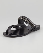 Saint Laurent Chain-Trim Toe-Ring Sandal