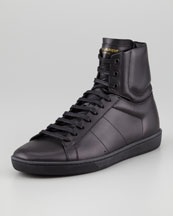 Saint Laurent High-Top Leather Sneaker, Black
