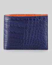 Santiago Gonzalez Bicolor Crocodile Wallet, Navy/Orange
