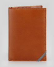 Salvatore Ferragamo Angolino Leather Card Case, Tan