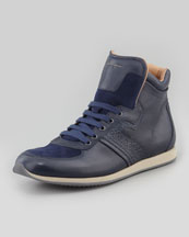 Salvatore Ferragamo Stanley High-Top Sneaker, Blue