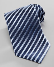 Charvet Diagonal-Stripe Silk Tie, Navy/Light Blue