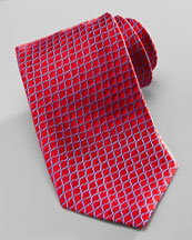 Charvet Diagonal-Neat Silk Tie, Red/Blue