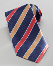 Charvet Diagonal-Stripe Silk Tie, Navy/Red