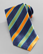 Charvet Diagonal-Stripe Silk Tie, Navy/Green
