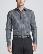 Zegna Sport Long-Sleeve Check Sport Shirt, Gray