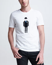 Burberry Prorsum Businessman Graphic Tee, White