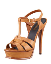 Saint Laurent New Tribute Platform Sandal, Natural