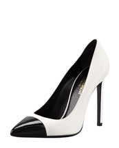Saint Laurent Bi-Color Leather Cap-Toe Pump, White/Black