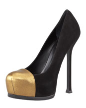 Saint Laurent Tribute Two Metallic Cap-Toe Pump, Black