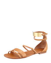 Saint Laurent Strappy Flat Leather Sandals, Tan