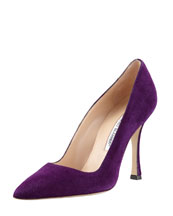 MANOLO BLAHNIK BB Suede Pointed-Toe Pump, Purple
