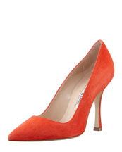 MANOLO BLAHNIK BB Point-Toe Suede Pump, Orange
