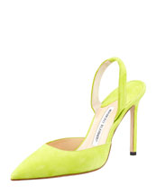 MANOLO BLAHNIK Carolyne Suede High-Heel Halter Pump, Lime Green