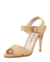 MANOLO BLAHNIK Adeustrap Ankle-Wrap Sandal, Light Brown