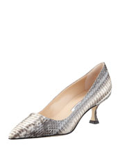 MANOLO BLAHNIK BB Low-Heel Snake Pump, Gray/Cream