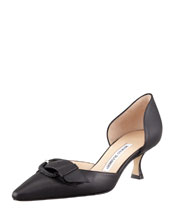MANOLO BLAHNIK Junonia Leather Low-Heel Buckle-Detail Pump, Black