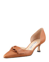 MANOLO BLAHNIK Junonia Leather Low-Heel Buckle-Detail Pump, Luggage
