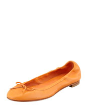 MANOLO BLAHNIK Tobaly Ballerina Flat, Orange