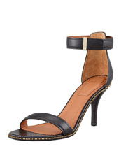 Givenchy Nadia Zip-Trim Ankle-Wrap Sandal