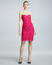 David Meister Signature Strapless Lace Cocktail Dress