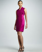 Elie Tahari Flannery Satin-Panel Dress
