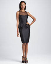 David Meister Signature Sleeveless Cocktail Dress with Peplum