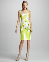 Monique Lhuillier Floral-Print Sheath Dress
