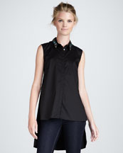 Elizabeth and James Jayna Jewel-Collar Blouse
