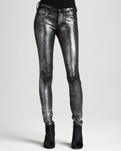AG Adriano Goldschmied Metallic Twill Leggings