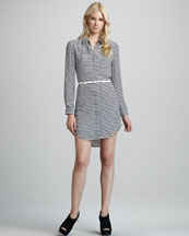 Theory Drula Striped Belted Shirtdress