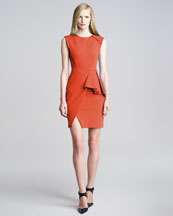 J. Mendel Techno-Jersey Peplum Dress