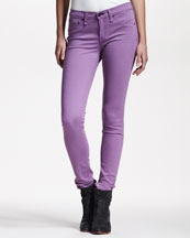 rag & bone/JEAN Cropped Stretch-Twill Leggings, Violet
