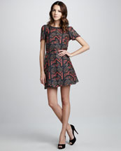 MARC by Marc Jacobs Geo Maze Printed A-Line Dress