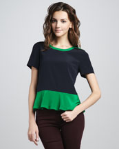 MARC by Marc Jacobs Avery Two-Tone Peplum Top
