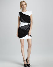 Alice + Olivia Short-Sleeve Dress with Illusion Drape