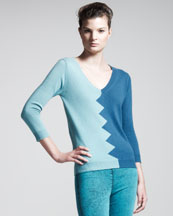 Kelly Wearstler Slither Colorblock Sweater, Aquamarine/Teal