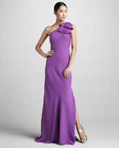 Pamella Roland Ruffled One-Shoulder Gown