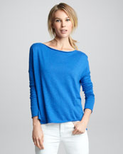 Vince Loose Boat-Neck Top