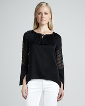 Elie Tahari Etta Sheer-Sleeve Blouse