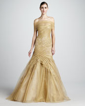 Monique Lhuillier Ruched-Lace Trumpet Gown