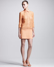 Philosophy di Alberta Ferretti Lace-Top Shirtdress