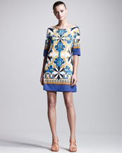 Philosophy di Alberta Ferretti Printed Poplin Tunic Dress