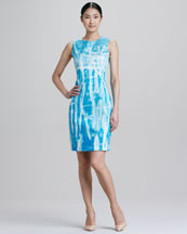 Elie Tahari Emory Tie-Dye Sheath Dress