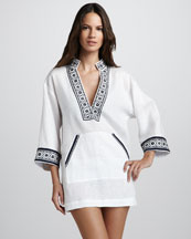 Tory Burch Tory Linen Coverup Tunic, White