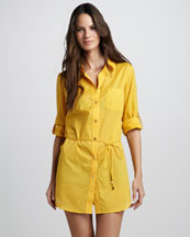 Tory Burch Kayla Lightweight Shirtdress Coverup